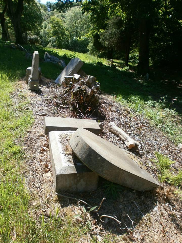broken tombstones