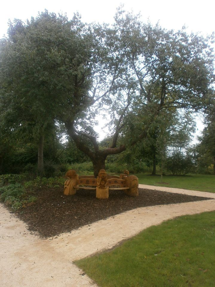 carved bench